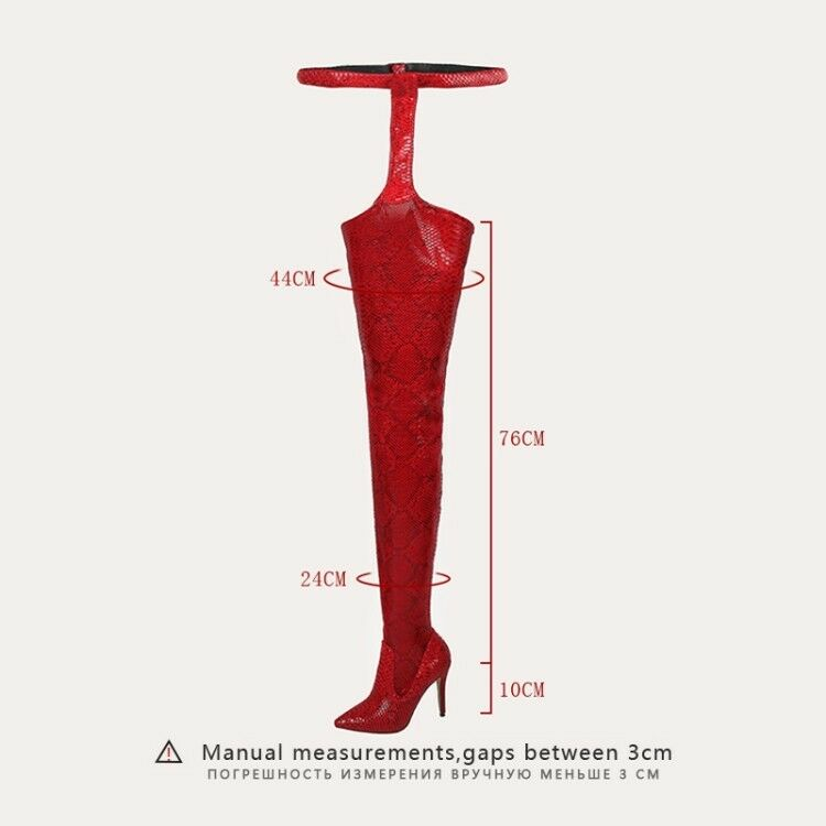 Women's Over Knee Boots High Heels Thigh High Pointed Toe Toe Toe Party shoes Snake Skin 24853f