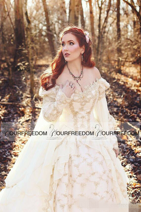Vintage Medieval Celtic Wedding Dress 2018 Church Gold Fairy Bridal ...