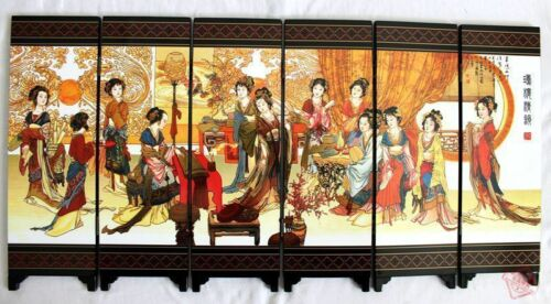 CHINESE BOUTIQUE COLLECTION LACQUER WARE PAINTING BEAUTY FOLDING SCREEN