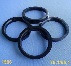 (1506) 4x Zentrierringe 78,1 / 65,1 mm schwarz für Alufelgen