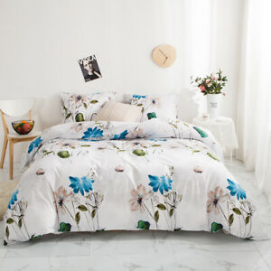 Reversible Duvet Cover Bedding Set Comforter Quilt Pillowcase Twin Queen King