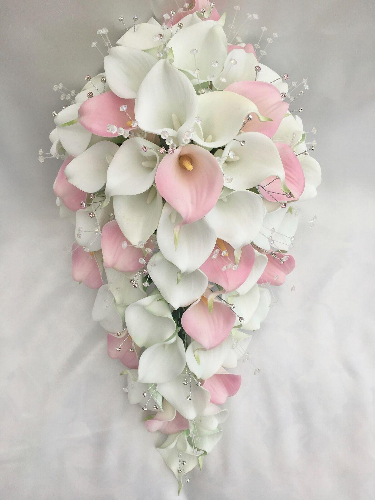 BRIDES BOUQUET, Rosa & Weiß CALLA LILIES, DIAMANTES, ARTIFICIAL WEDDING WEDDING WEDDING FLOWERS 54654b