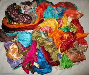 LOT-PURE-SILK-Antique-Vintage-Sari-REMNANT-Fabrics-100-GRAMS-CRAFT-DOLL-QUILT-37