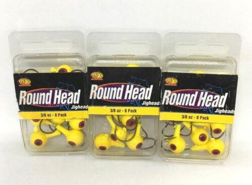 RH38-6-8 3 PACKS OF APEX ROUND HEAD JIGHEADS 3//8OZ YELLOW 8PCS