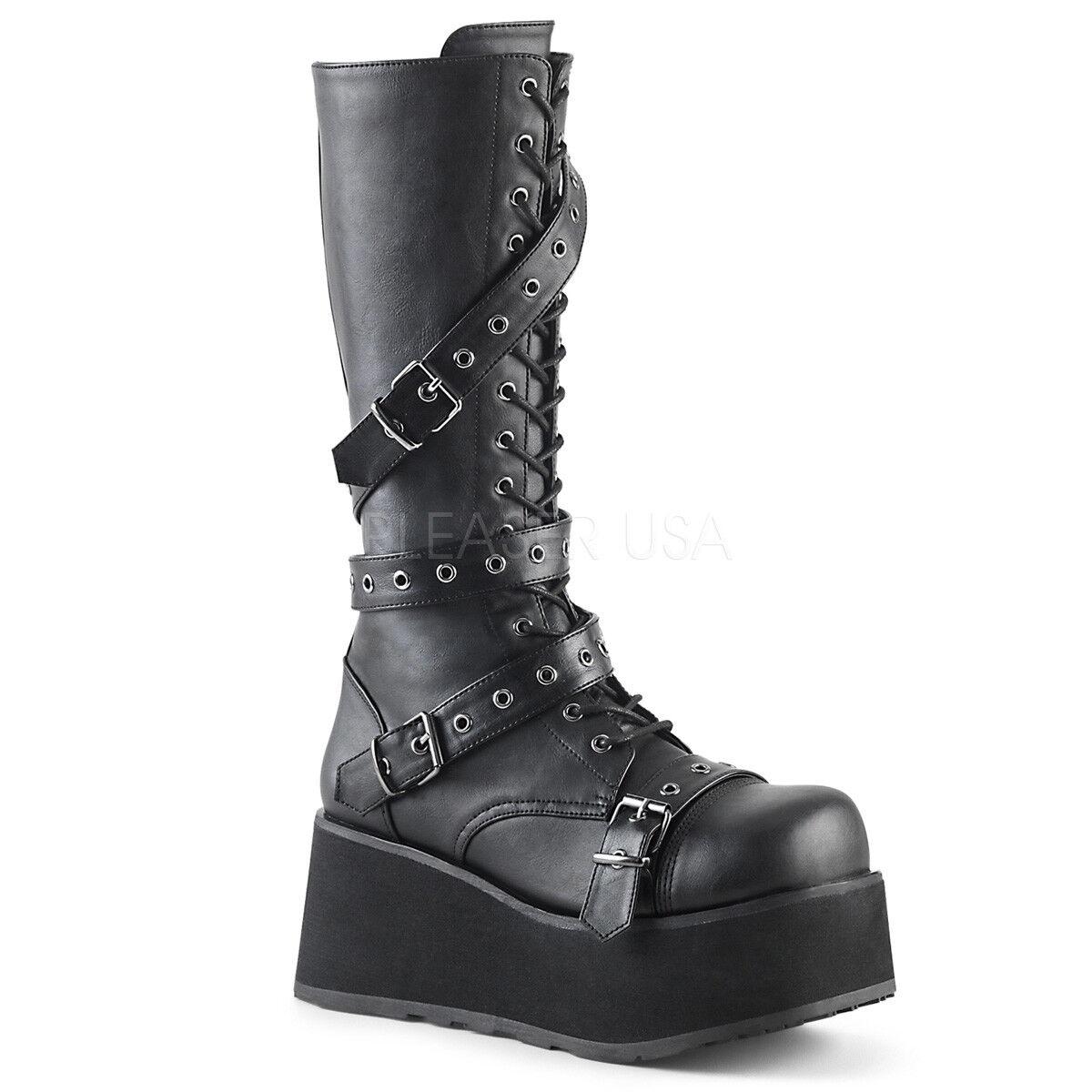 Demonia TRASHVILLE-520 Men's Black Vegan Leather Platform Grommet Knee High Boot