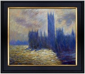 Framed-Claude-Monet-House-Parliament-Repro-Hand-Painted-Oil-Painting-20x24in