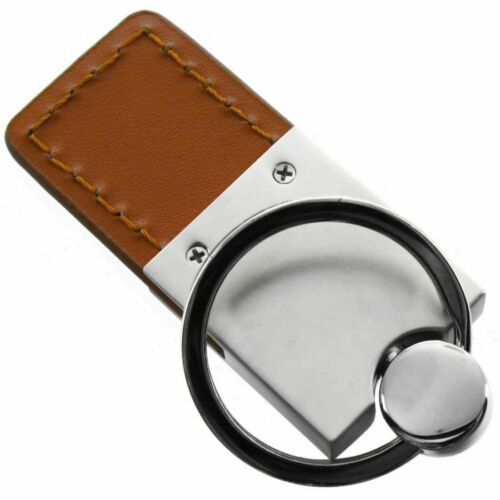 Renegade Key Ring Brown and Chrome Leather Rectangular Keychain