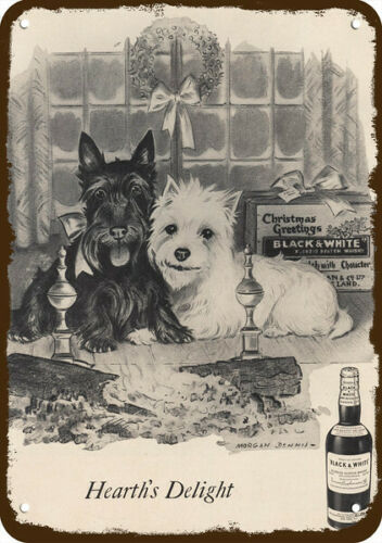 1957 BLACK /& WHITE WHISKY Vintage Look REPLICA METAL SIGN WESTIE /& SCOTTY DOG