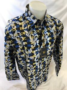 Mens Manzini Dress Shirt Navy Blue Paisley French Cuff Links Button Front
