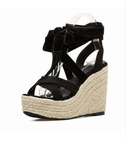 Sandalias de Cuña Cuerda 12cm Beis noir Piel Sintético Cómodo Elegantes 9613