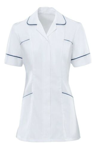 Alexandra HF608 White//Navy Ladies Nurses Care Assistant Uniform Tunic B5 XT11