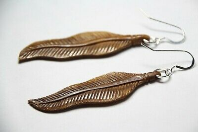 Bone Carved Feather Earrings 925 Sterling Silver Dark Brown Feathers 3 1 4 Ebay