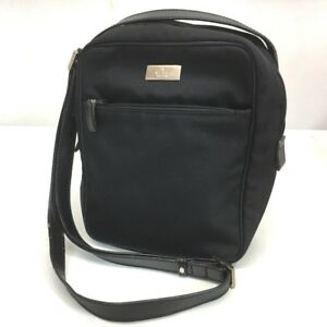 1f4c8a10eb7b Image is loading AUTHENTIC-GUCCI-Silver-plate-Shoulder-Bag-Black-Nylon-