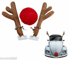 CAR RUDOLPH ANTLER NOSE SET Christmas Xmas Festive Reindeer Accessory Decoration