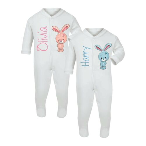 PERSONALISED BABY SLEEPSUIT BUNNY DESIGN BABY GROW GIRL BOY GIFT CLOTHES COTTON