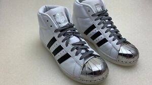 8658f26fd1a6 Adidas Promodel White Metal Toe W Sz 6.5 with Black Stripes Silver ...
