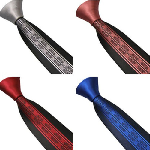 Lammulin attaches couleur unie Nœud Contraste Rayures Verticales Cravate Skinny Tie 6 cm