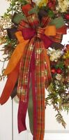 Fall Wired Bow For Floral Door Wreath Swag Garland Fence Post B7
