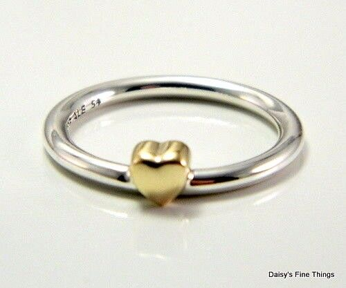 467226167 Authentic PANDORA #196548-50 Puzzle Heart Ring With 14k Gold Heart Size 5  for sale online | eBay
