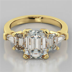 3.00 Ct Emerald Cut Moissanite Anniversary Ring 18K Real Yellow Gold ring Size 8