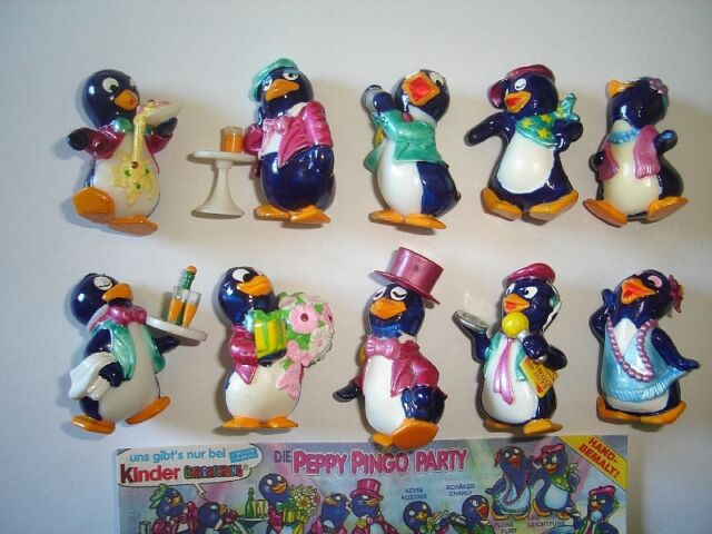KINDER SURPRISE SET - PEPPY PINGOS PARTY PENGUINS 1994 - FIGURES COLLECTIBLES