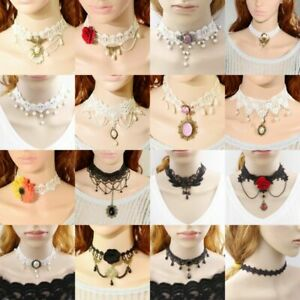 Women-Lace-Fashion-Necklace-Collar-Choker-Vintage-Gothic-Chain-Pendant-Jewelry