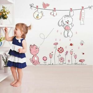 Bear-amp-Rabbit-Cartoon-Wall-Sticker-For-Baby-Girls-Kids-Rooms-Home-Decor-Decals