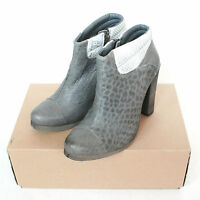 Ksubi $490 Distressed Gray Leather Booties Stacked Heel Memphis Boots 39/9
