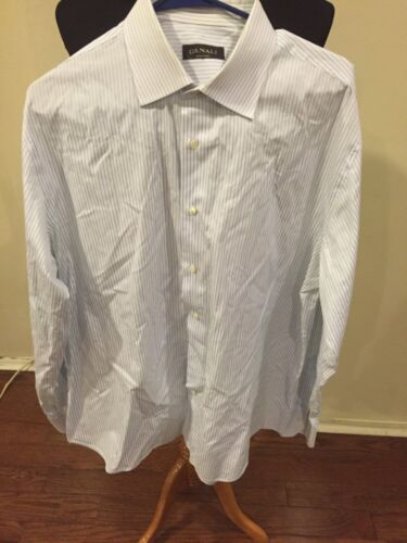 Canali mens Stripe button down shirt  Sz 44/17.5