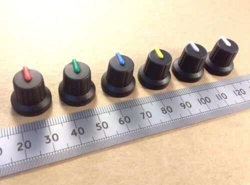 Pot Volume Control Knob 6mm T18 Split Splined Shaft Colored Indicator Line