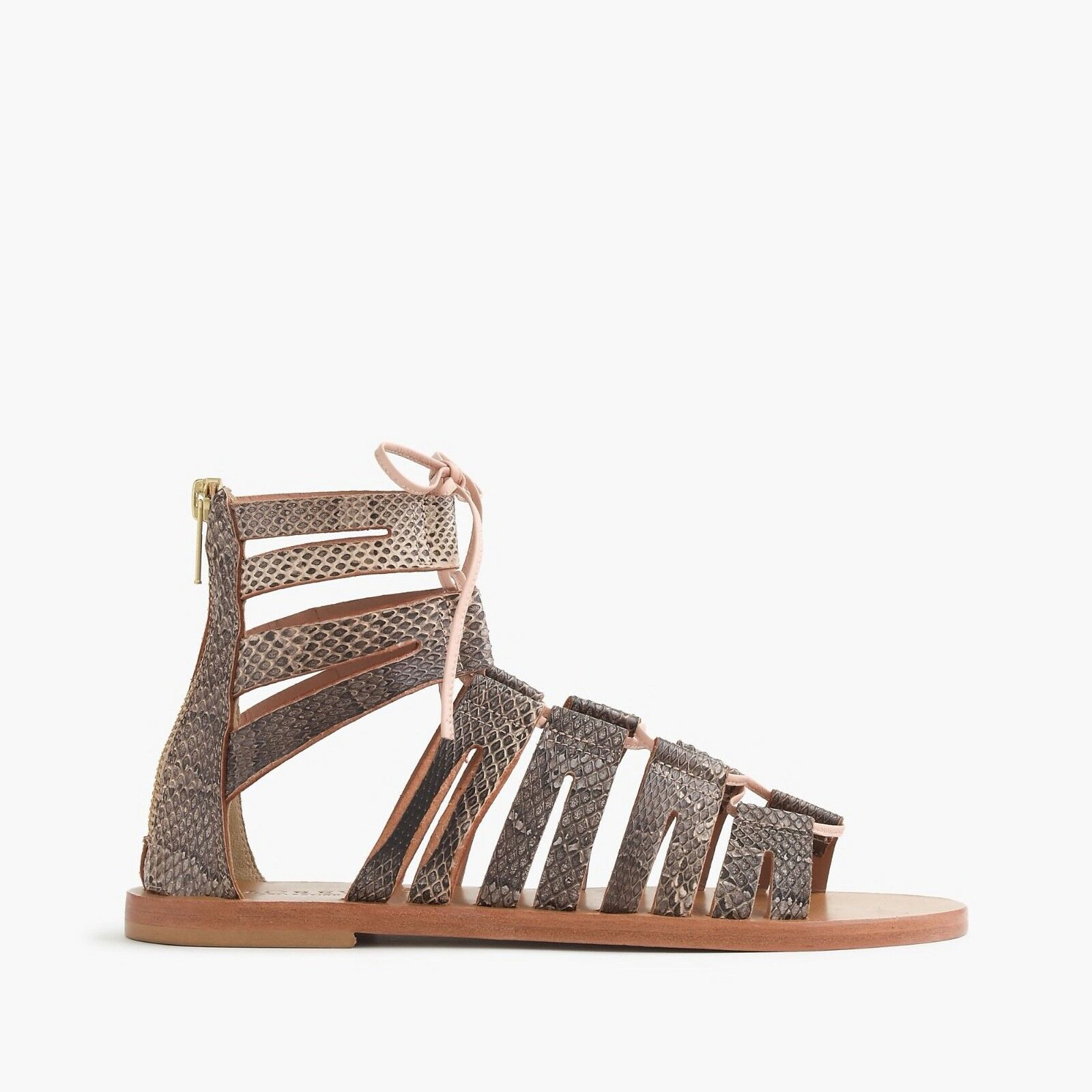 J.Crew Aztec Snakeskin Lace-Up Gladiator Sandals Size 9  178 c4134 Made in