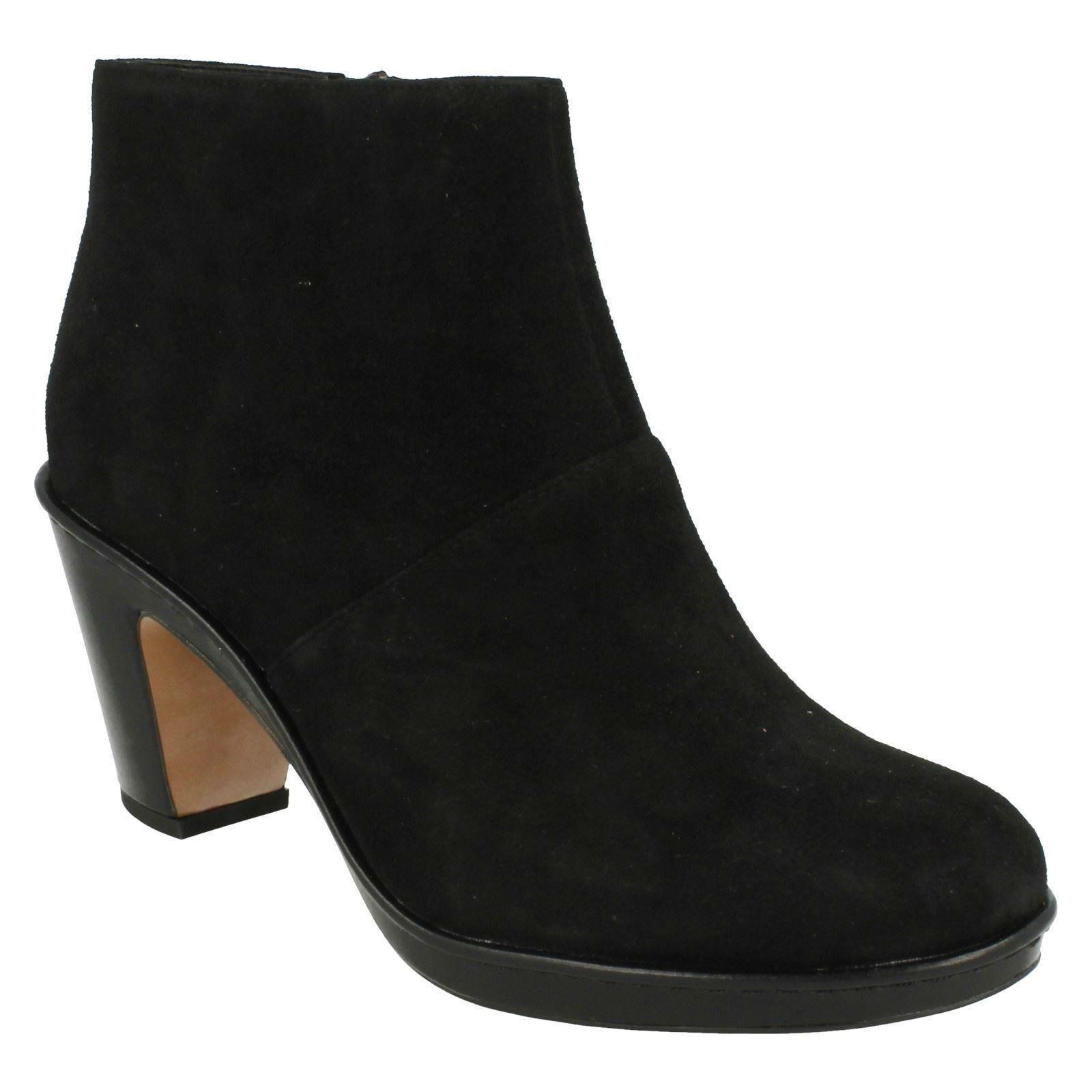 Zapatos especiales con descuento DULCIE SUE LADIES CLARKS SUEDE ZIP PLATFORM WORK EVENING SMART ANKLE BOOTS