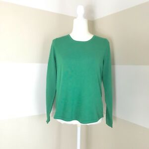 Chicos-Sz-1-Womens-M-Sweater-Green-Exposed-Gold-Zipper-Back-Long-Sleeve-Top