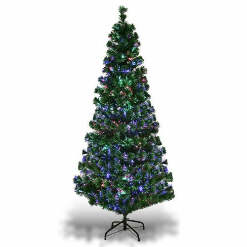 6Ft Pre-Lit Fiber Optic Artificial PVC Christmas Tree w/ Metal Stand Holiday