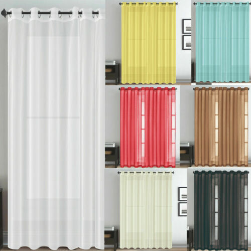 Net /& Voile Pair Curtain Panel Net Eyelet Top Slot Plain for Window Door Room