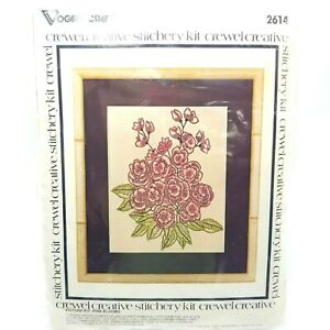 Crewel-Embroidery-Stitchery-Kit-Pink-Blooms-Floral-Vogart-Crafts-2614