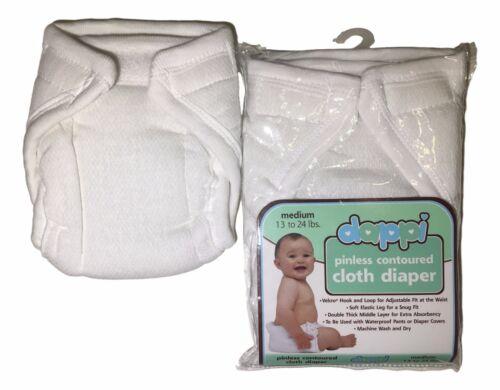 Dappi PINLESS Contoured CLOTH Diaper 100/% Cotton Natural S-M-L Reusable Washable