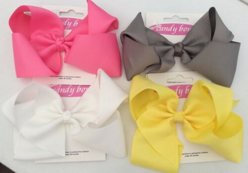 """Baby//Girls 6 /"""" /""""Candy Bow/"""" Ribbon Bow on Alligator Clip Choose your Colour"""