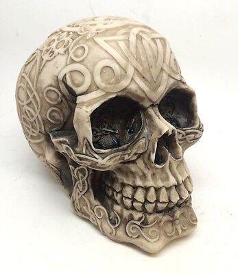 Tribal Celtic Tattoo Skull Skeleton Head Chief Halloween Decor Figurine Statue