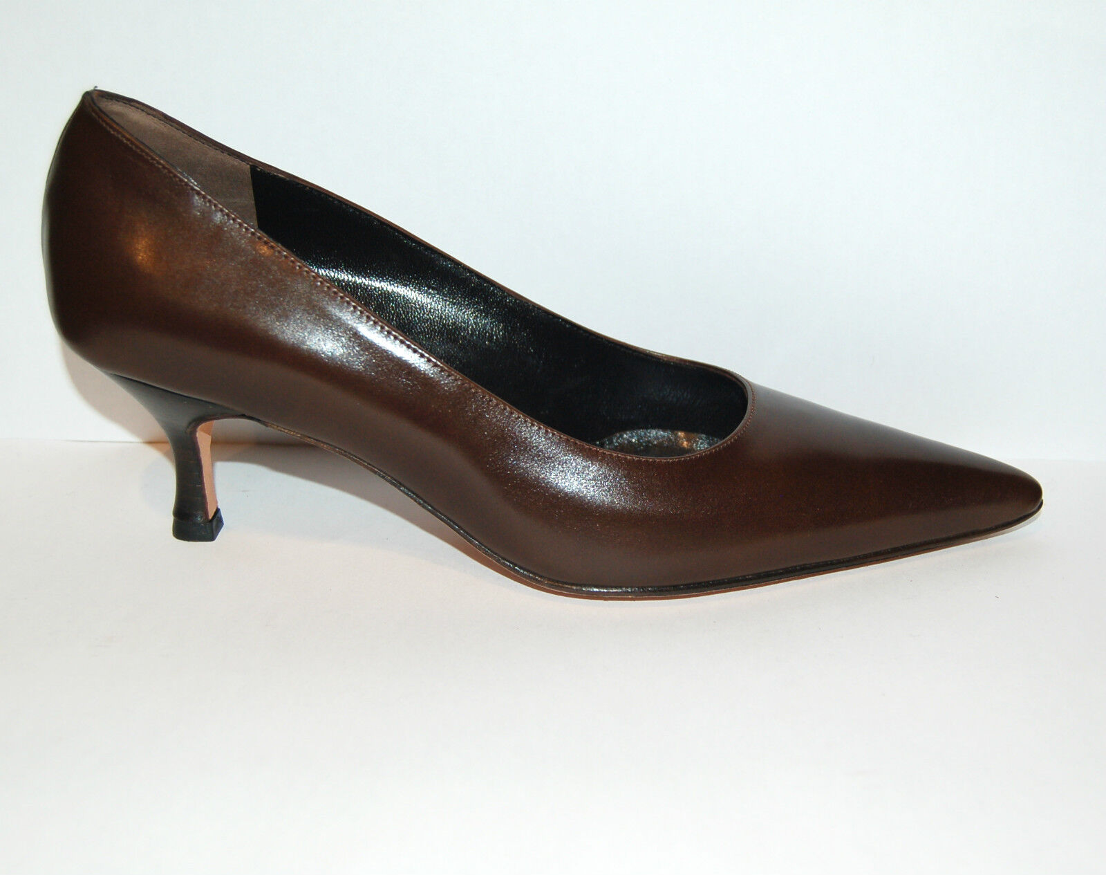 39eu - WOMAN POINTED PUMP - marron CALF - LEATHER SOLE - HEEL 5,5cm