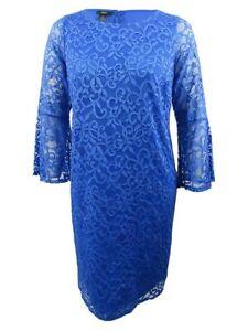 Alfani-Women-039-s-Plus-Size-Lace-Bell-Sleeve-Sheath-Dress