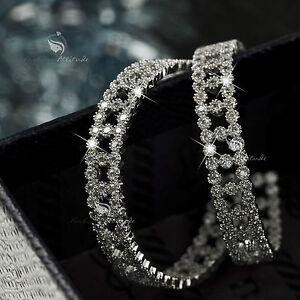 18k-white-gold-made-with-SWAROVSKI-crystal-hoop-stud-earrings-925-silver-hoops