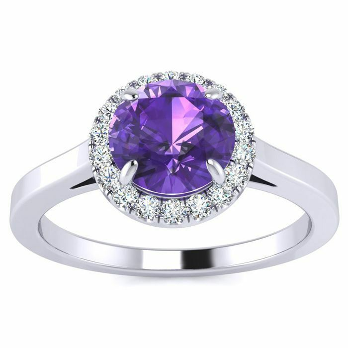 14K gold 1 Carat Round Shape Amethyst and Halo Diamond Ring - in 3 gold colors