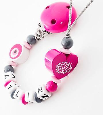 Schnullerkette mit Namen ♥ Baby Mädchen ♥ Evlat kokusu ♥ grau rosa Mashallah