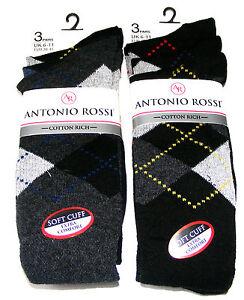 6-Pares-Hombre-Antonio-Rossi-negro-y-color-rombos-Calcetines-De-Algodon