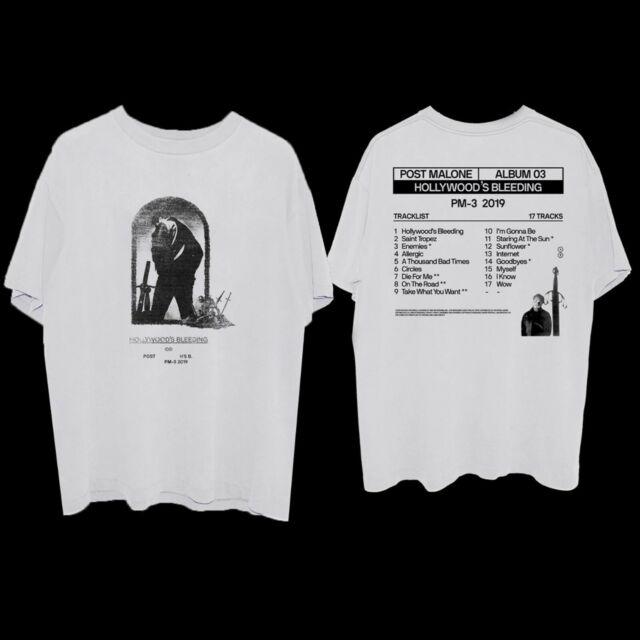 Post Malone Hollywood's Bleeding Album Cover White T-shirt