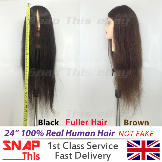 """24"""" 100% Real Human Hair Training Head Student Mannequin Hairdressing Practice"""