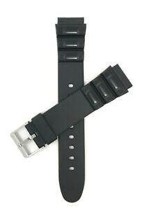 Bandini Black Rubber Watch Band Strap fits Casio and Timex, 18mm & 20mm, Sports