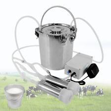 5l Electric Milking Machine Stainless Steel Vacuum Pump Dual Heads Cow Milker