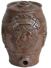 Antique English Stoneware Spirits Barrel, Royal Crest Bagpipes Salt Glazed